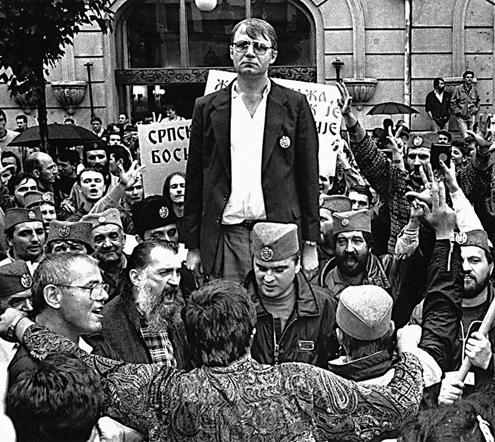 Miting opozicije pred Ruskim carem.V.Seselj.9.1991.foto:Petar Kujundzic