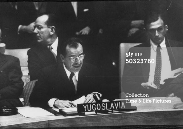 Yugoslavian Koca Popovic at UN Security Council meeting Re: Suez Canal. (Photo by Lisa Larsen//Time Life Pictures/Getty Images)  01 Oct 1956