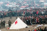 Kosovar Refugees at a Red Cross Camp in Blace