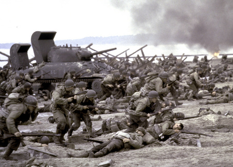 """** FILE ** In this undated file photo, provided by DreamWorks, American forces storm Omaha Beach during the World War II D-Day landing in France in a scene from the 1998 film """"Saving Private Ryan.""""  (AP Photo/DreamWorks, David James, File)"""